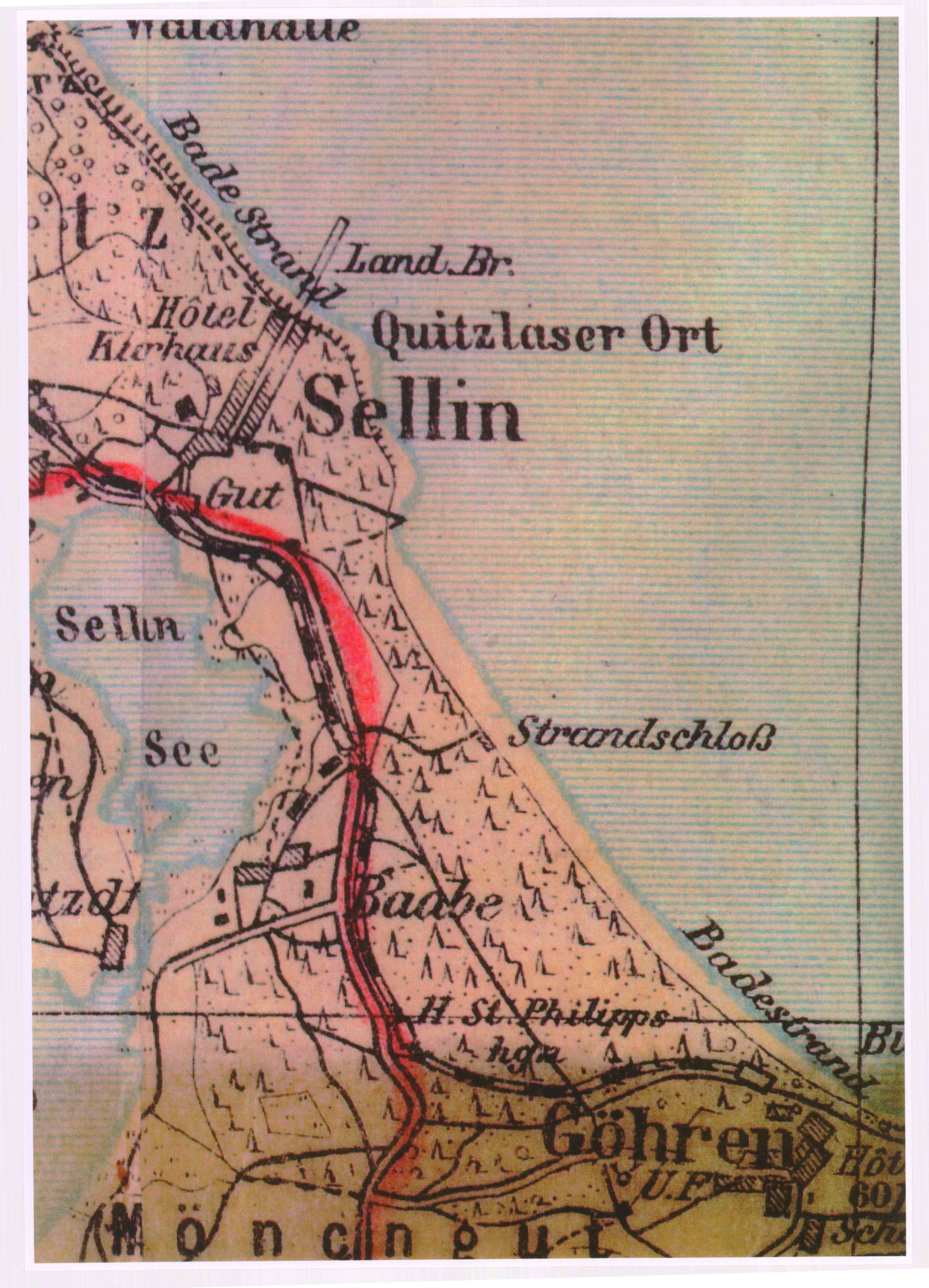 alte Karte Sellin, Baabe, Göhren